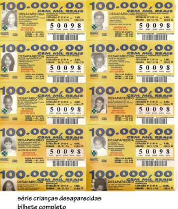 bilhete de loteria crianças desaparecidas